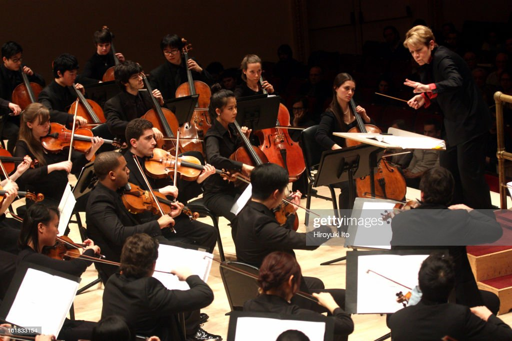 Marin Alsop leads the Juilliard Orchestra in John Corigliano's 75th birthday concert at Carnegie Hall on Saturday night, February 9, 2013.