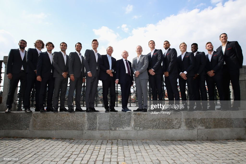 Marin Cilic, Alexander Zverev, Dominic Thiem, Roger Federer, Rafael Nadal, Thomas Berdych, Thomas Enqvist, Bjorn Bjorg of Team Europe and Patrick McEnroe, John McEnroe, Sam Querry, Nick Kygrios, Denis Shapovalov, Francis Tiafoe, Jack Sock and John Isner of Team World pose for photos ahead of the Laver Cup on September 20, 2017 in Prague, Czech Republic. The Laver Cup consists of six European players competing against their counterparts from the rest of the World. Europe will be captained by Bjorn Borg and John McEnroe will captain the Rest of the World team. The event runs from 22-24 September.
