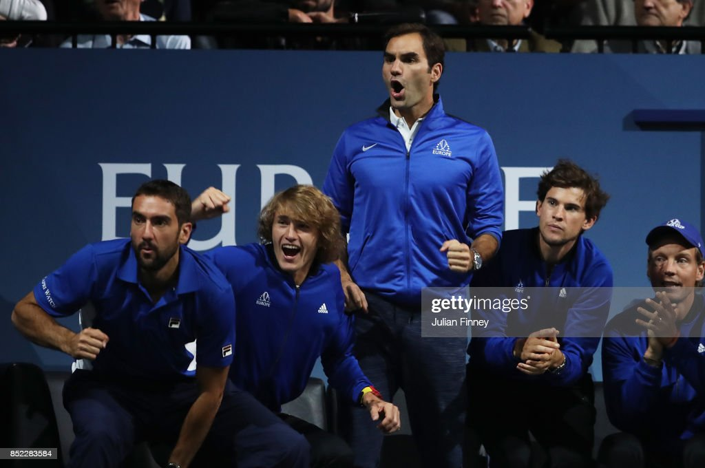 Marin Cilic, Alexander Zverev, Roger Federer, Dominic Thiem and Tomas Berdych of Team Europe support Rafael Nadal of Team Europe as he plays his singles match against Jack Sock of Team World on Day 2 of the Laver Cup on September 23, 2017 in Prague, Czech Republic. The Laver Cup consists of six European players competing against their counterparts from the rest of the World. Europe will be captained by Bjorn Borg and John McEnroe will captain the Rest of the World team. The event runs from 22-24 September.