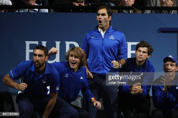 Marin Cilic Alexander Zverev Roger Federer Dominic Thiem and Tomas Berdych of Team Europe support Rafael Nadal of Team Europe as he plays his singles...