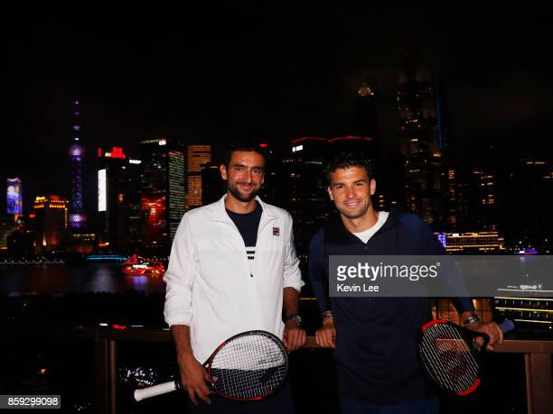 Marin Cilic and Grigor Dimitrov pose for a picture at Fosun Foundation at the Bund on Day 2 of 2017 ATP 1000 Shanghai Rolex Masters on October 9 2017...