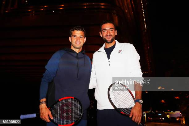 Marin Cilic and Grigor Dimitrov pose for a picture on the outside of Fosun Foundation at the Bund on Day 2 of 2017 ATP 1000 Shanghai Rolex Masters on...