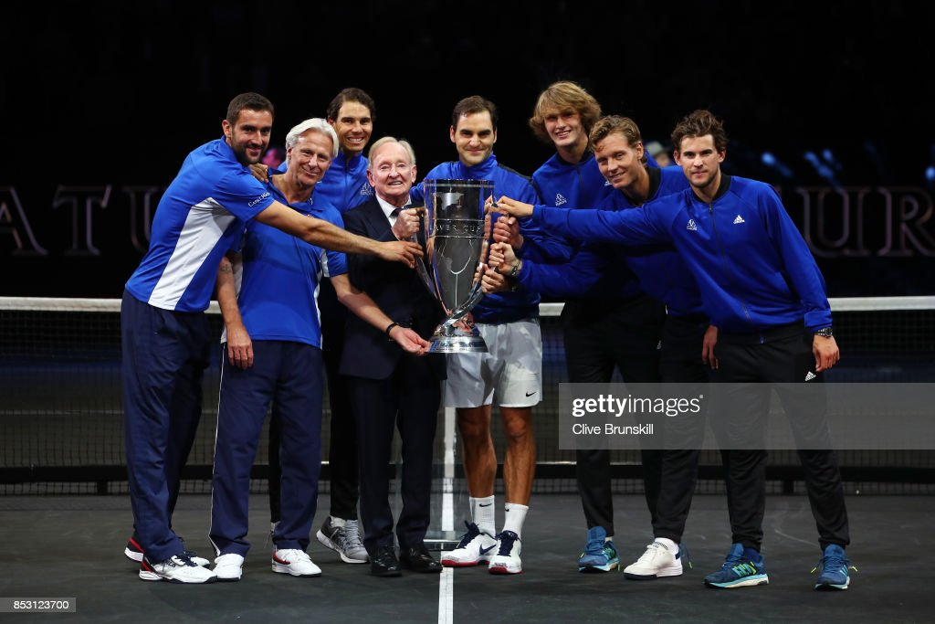 Marin Cilic, Bjorn Borg, Rafael Nadal, Alexander Zverev, Dominic Thiem, Roger Federer, Rod Laver and Tomas Berdych of Team Europe lift the Laver Cup trophy on the final day of the Laver cup on September 24, 2017 in Prague, Czech Republic. The Laver Cup consists of six European players competing against their counterparts from the rest of the World. Europe will be captained by Bjorn Borg and John McEnroe will captain the Rest of the World team. The event runs from 22-24 September.