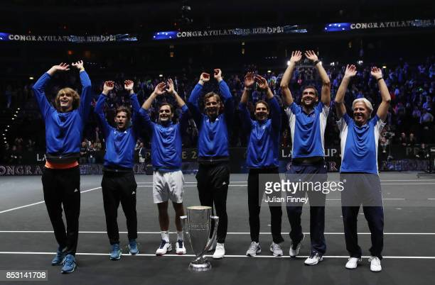 Marin Cilic Bjorn Borg Rafael Nadal Alexander Zverev Dominic Thiem Bjorn Borg Roger Federer and Tomas Berdych of Team Europe celebrate winning the...