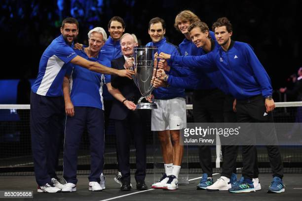 Marin Cilic Bjorn Borg Rafael Nadal Rod Laver Roger Federer Alexander Zverev Tomas Berdych and Dominic Thiem of Team Europe lift the Laver Cup trophy...
