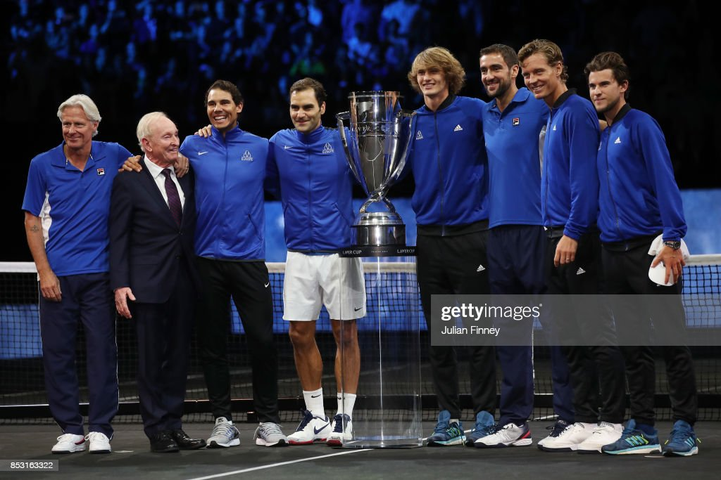 Marin Cilic, Bjorn Borg, Rafael Nadal, Rod Laver, Roger Federer, Alexander Zverev, Tomas Berdych and Dominic Thiem of Team Europe lift the Laver Cup trophy on the final day of the Laver cup on September 24, 2017 in Prague, Czech Republic. The Laver Cup consists of six European players competing against their counterparts from the rest of the World. Europe will be captained by Bjorn Borg and John McEnroe will captain the Rest of the World team. The event runs from 22-24 September.