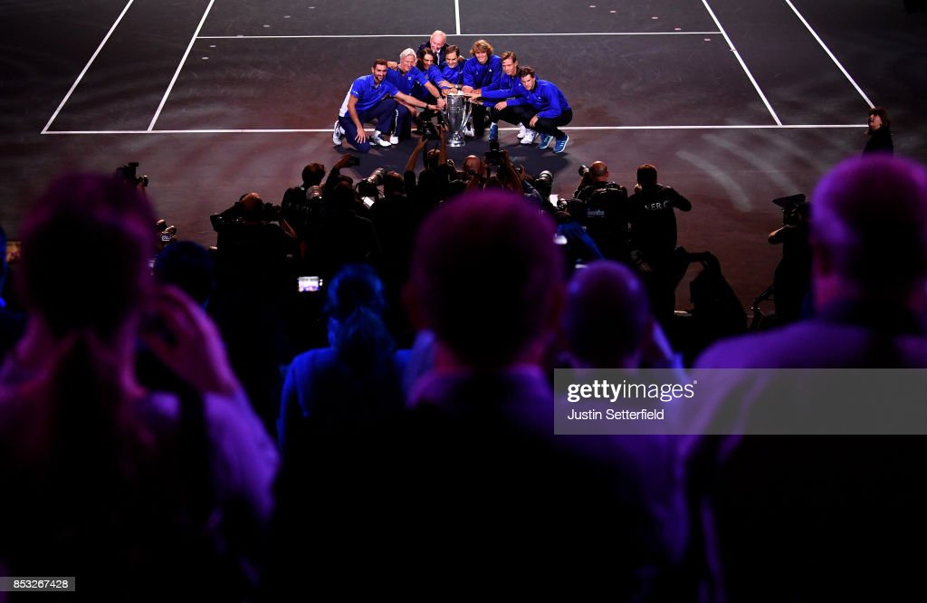 Marin Cilic, Bjorn Borg, Rafael Nadal, Rod Laver, Roger Federer, Alexander Zverev, Tomas Berdych and Dominic Thiem of Team Europe celebrate after winning the Laver Cup trophy on the final day of the Laver cup on September 24, 2017 in Prague, Czech Republic. The Laver Cup consists of six European players competing against their counterparts from the rest of the World. Europe will be captained by Bjorn Borg and John McEnroe will captain the Rest of the World team. The event runs from 22-24 September.