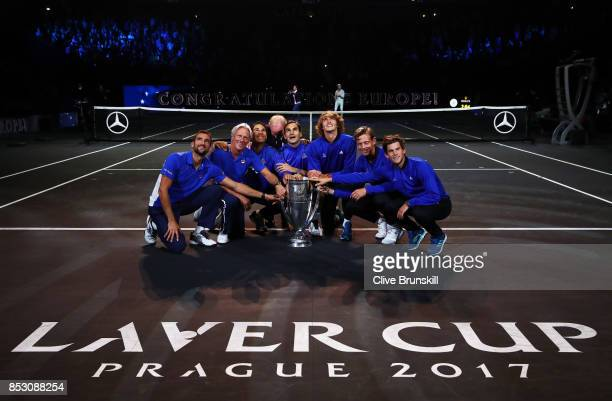 Marin Cilic Bjorn BorgRafael Nadal Alexander Zverev Dominic Thiem Roger Federer and Tomas Berdych of Team Europe lift the Laver Cup trophy on the...