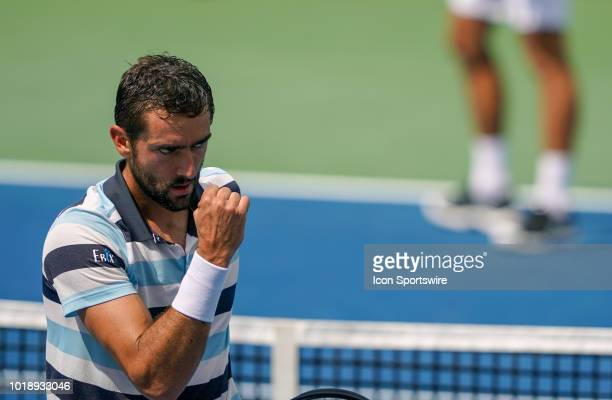 Marin Cilic celebrates after winning a point during the semifinal match at the Western Southern Open at the Lindner Family Tennis Center in Mason...