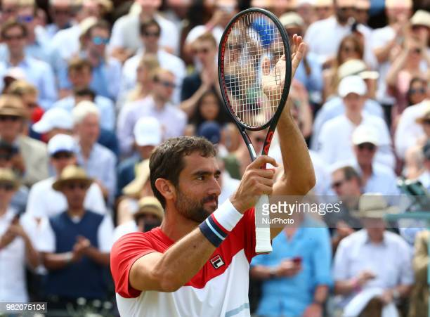 Marin Cilic celebrates his win After FeverTree Championships Semi Final match between Marin Cilic against Nick Kyrgios at The Queen's Club London on...