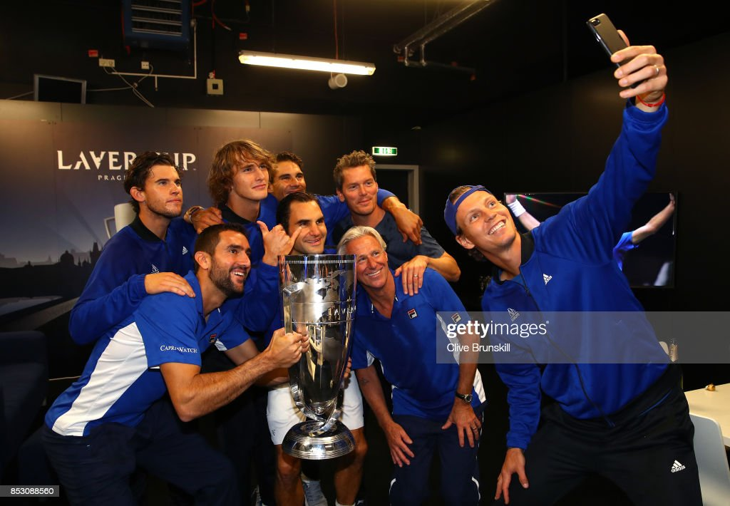 Marin Cilic, Dominic Thiem, Alexander Zverev, Rafael Nadal, Roger Federer, Bjorn Borg, Thomas Enqvist and Tomas Berdych of Team Europe lift the Laver Cup trophy on the final day of the Laver cup on September 24, 2017 in Prague, Czech Republic. The Laver Cup consists of six European players competing against their counterparts from the rest of the World. Europe will be captained by Bjorn Borg and John McEnroe will captain the Rest of the World team. The event runs from 22-24 September.