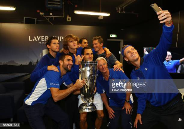 Marin Cilic Dominic Thiem Alexander Zverev Rafael Nadal Roger Federer Bjorn Borg Thomas Enqvist and Tomas Berdych of Team Europe lift the Laver Cup...