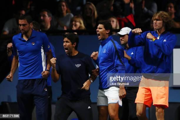 Marin Cilic Fernando Verdasco Rafael Nadal Dominic Thiem Alexander Zverev of Team Europe celebrates with Team Europe team mates during the mens...