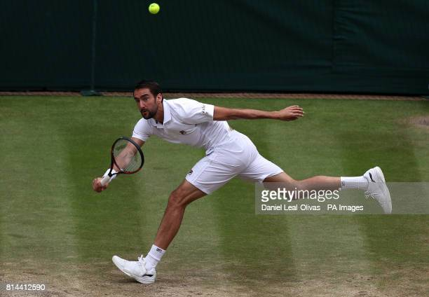 Marin Cilic in action against Sam Querrey on day eleven of the Wimbledon Championships at The All England Lawn Tennis and Croquet Club Wimbledon