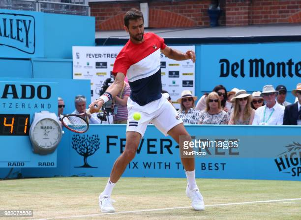 Marin Cilic in action during FeverTree Championships Semi Final match between Marin Cilic against Nick Kyrgios at The Queen's Club London on 23 June...