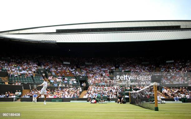 Marin Cilic in action on court one on day four of the Wimbledon Championships at the All England Lawn Tennis and Croquet Club Wimbledon