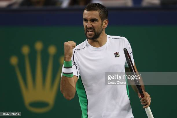 Marin Cilic of Coratia celebrates a point against Nicolas Jarry of Chile during 2nd Round in 2018 Rolex Shanghai Masters on Day 3 at Qi Zhong Tennis...