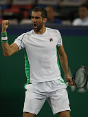 shanghai china marin cilic coratia celebrates