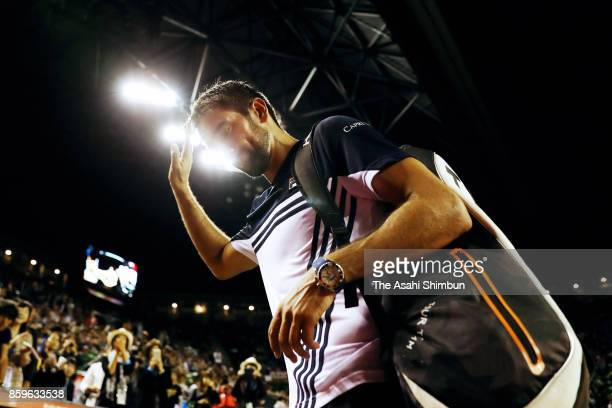 Marin Cilic of Coratia leaves the court after his defeat in his semi final match against Adrian Mannarino of France during day six of the Rakuten...