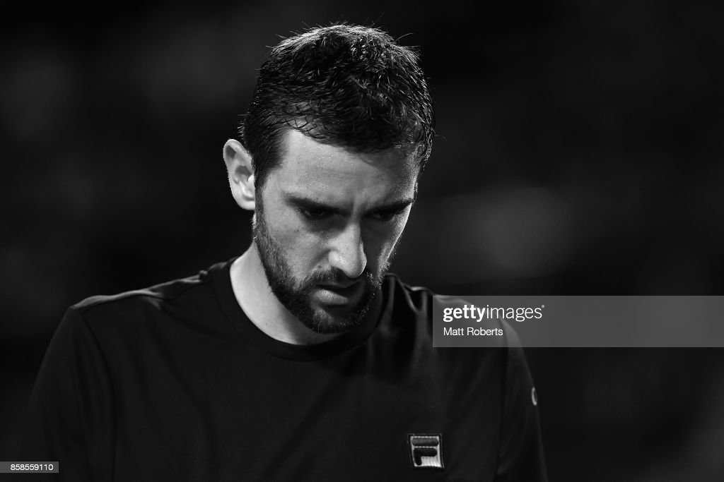 Marin Cilic of Coratia looks dejected in his semi final match against Adrian Mannarino of France during day six of the Rakuten Open at Ariake Coliseum on October 7, 2017 in Tokyo, Japan.