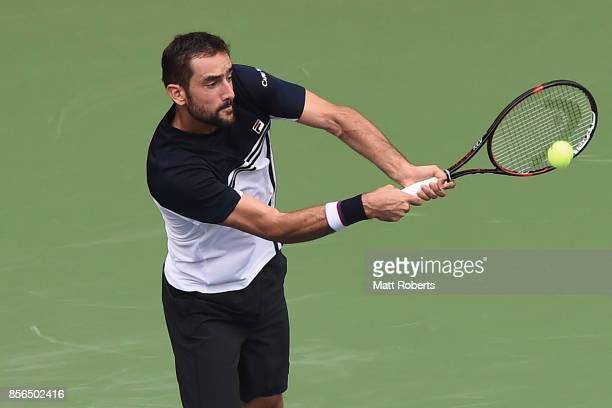 Marin Cilic of Coratia plays a backhand against Stefanos Tsitsipas of Greece during day one of the Rakuten Open at Ariake Coliseum on October 2 2017...