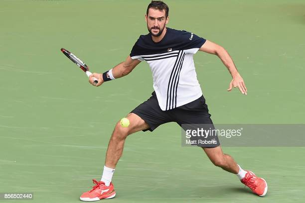 Marin Cilic of Coratia plays a forehand against Stefanos Tsitsipas of Greece during day one of the Rakuten Open at Ariake Coliseum on October 2 2017...
