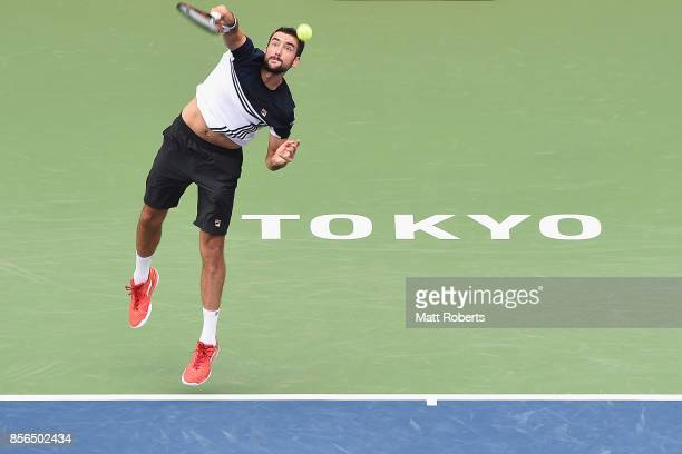 Marin Cilic of Coratia plays serves against Stefanos Tsitsipas of Greece during day one of the Rakuten Open at Ariake Coliseum on October 2 2017 in...