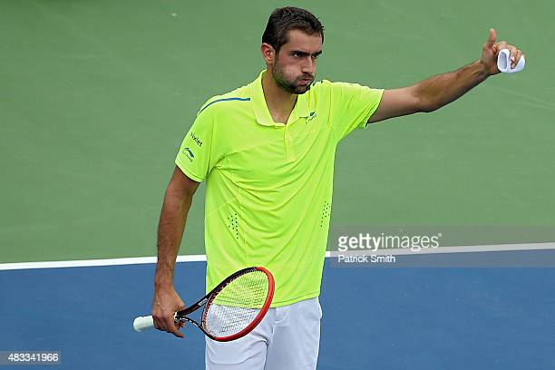 Marin Cilic of Croatia acknowledges the crowd after defeating Alexander Zverev of Germany during the Citi Open at Rock Creek Park Tennis Center on...