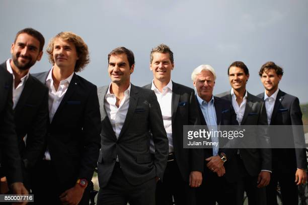 Marin Cilic of Croatia Alexander Zverev of Germany Roger Federer of Switzerland Tomas Berdych of Czech Republic Bjorn Borg of Sweden Rafael Nadal of...