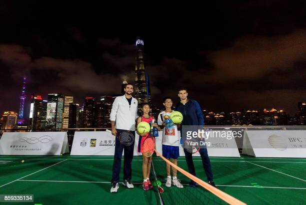Marin Cilic of Croatia and Grigor Dimitrov of Bulgaria pose for a picture on day 2 of ATP 1000 Shanghai Rolex Masters 2017 at Fosun Foundation on...