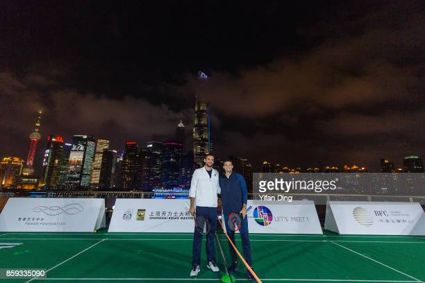 Marin Cilic of Croatia and Grigor Dimitrov pose for a picture on day 2 of ATP 1000 Shanghai Rolex Masters 2017 at Fosun Foundation on October 9 2017...