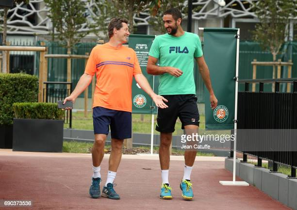 Marin Cilic of Croatia and his coach Jonas Bjorkman at practice on day 3 of the 2017 French Open second Grand Slam of the season at Roland Garros...