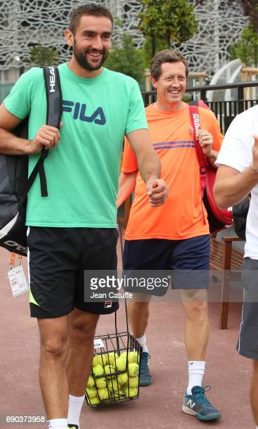 Marin Cilic of Croatia and his coach Jonas Bjorkman at practice on day 3 of the 2017 French Open, second Grand Slam of the season at Roland Garros...
