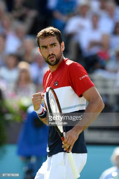 Marin Cilic of Croatia celebrate during the first round match against Fernando Verdasco of Spain during Day one of the FeverTree Championships at...