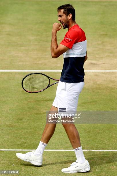 Marin Cilic of Croatia celebrates a point during his men's singles semifinal match against Nick Kyrgios of Australia on Day Six of the FeverTree...