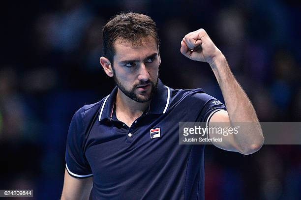 Marin Cilic of Croatia celebrates a point during the men's singles match against Kei Nishikori of Japan on day six of the ATP World Tour Finals at O2...