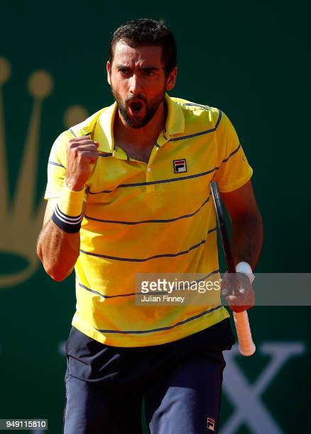 Marin Cilic of Croatia celebrates a point in his match against Kei Nishikori of Japan during day six of the ATP Masters Series Monte Carlo Rolex...