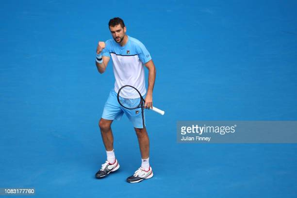 Marin Cilic of Croatia celebrates a point in his second round match against Mackenzie Mcdonald of the United States during day three of the 2019...