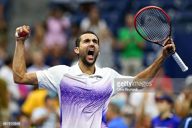 Marin Cilic of Croatia celebrates after defeating JoWilfried Tsonga of France during their Men's Singles Quarterfinals match on Day Nine of the 2015...