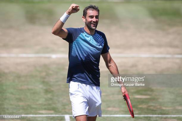 Marin Cilic of Croatia celebrates after winning the final of MercedesCup against Felix Auger-Aliassime of Canada during day 7 of the MercedesCup at...