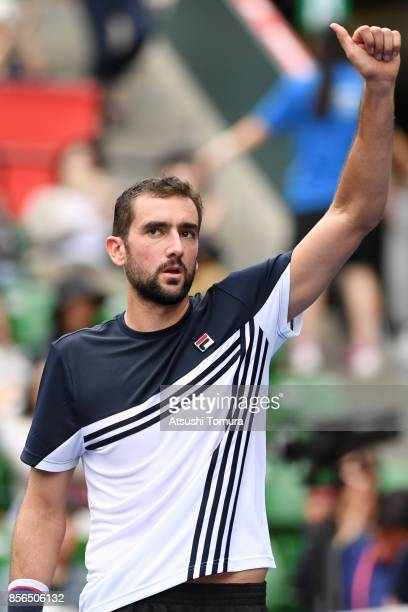 Marin Cilic of Croatia celebrates after winning the match against Stefanos Tsitsipas of Greece during day one of the Rakuten Open at Ariake Coliseum...