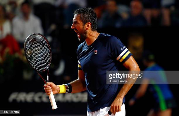 Marin Cilic of Croatia celebrates against Alexander Zverev of Germany in the semi finals during day seven of the Internazionali BNL d'Italia 2018...