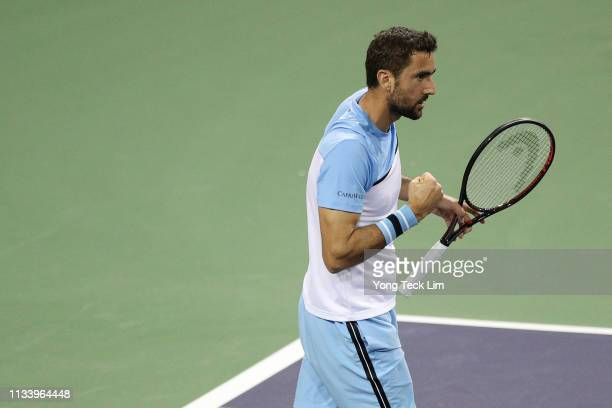 Marin Cilic of Croatia celebrates beating David Goffin of Belgium in the first round of the Eisenhower Cup a Tie Break Tens event on Day 2 of the BNP...