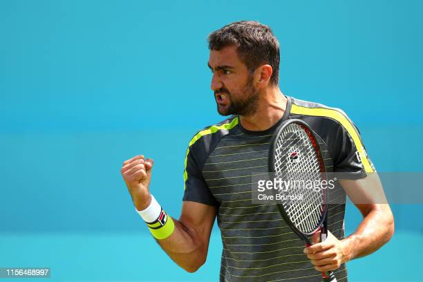 Marin Cilic of Croatia celebrates during his First Round Singles Match against Christian Garin of Chile during Day One of the FeverTree Championships...