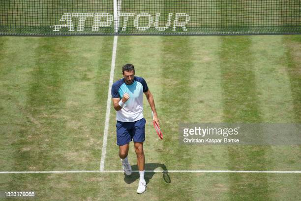 Marin Cilic of Croatia celebrates during his half-final match against Jurij Rodionov of Austria during day 6 of the MercedesCup at Tennisclub...