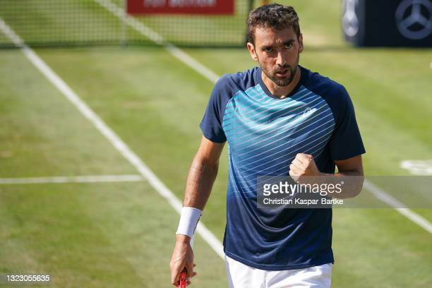 Marin Cilic of Croatia celebrates during his match against Denis Shapovalov of Canada during day 5 of the MercedesCup at Tennisclub Weissenhof on...