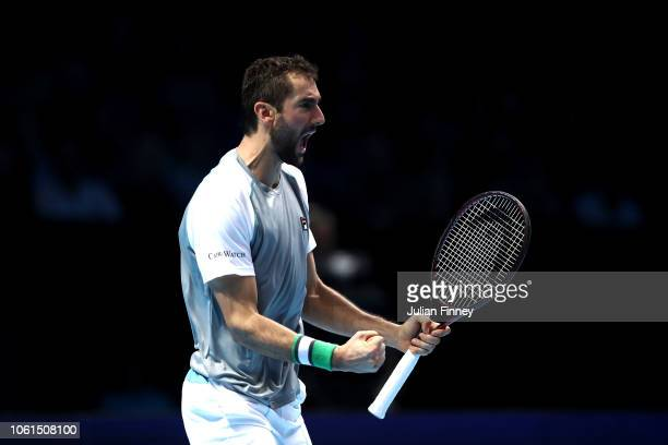 Marin Cilic of Croatia celebrates during his singles round robin match against John Isner of The United States during Day Four of the Nitto ATP...