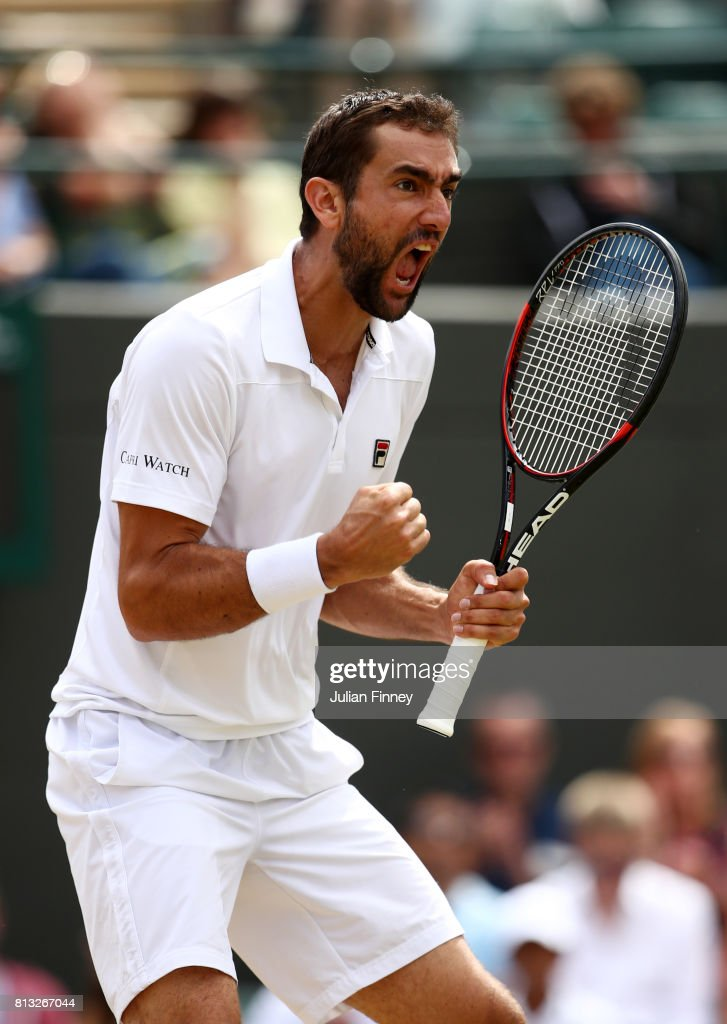Marin Cilic of Croatia celebrates during the Gentlemen's Singles quarter final match against Gilles Muller of Luxembourg on day nine of the Wimbledon Lawn Tennis Championships at the All England Lawn Tennis and Croquet Club on July 12, 2017 in London, England.