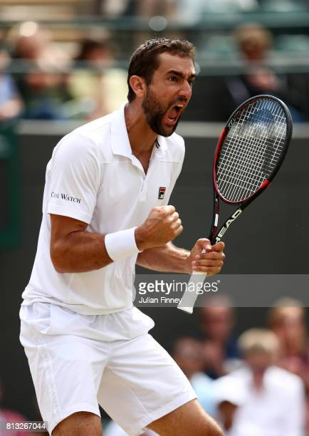Marin Cilic of Croatia celebrates during the Gentlemen's Singles quarter final match against Gilles Muller of Luxembourg on day nine of the Wimbledon...