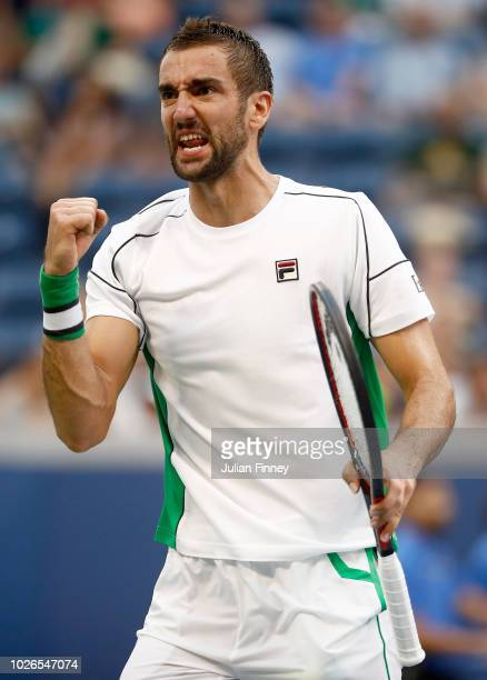 Marin Cilic of Croatia celebrates during the men's singles fourth round match against David Goffin of Belgium on Day Eight of the 2018 US Open at the...